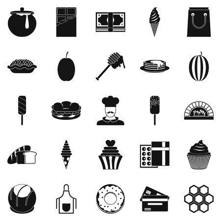 Executive chef icons set Vettoriali