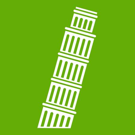 Tower of Pisa icon white isolated on green background. Vector illustration Illustration