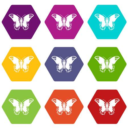 Admiral butterfly icon set color hexahedron