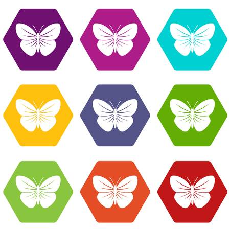 Black butterfly icon set color hexahedron Illustration
