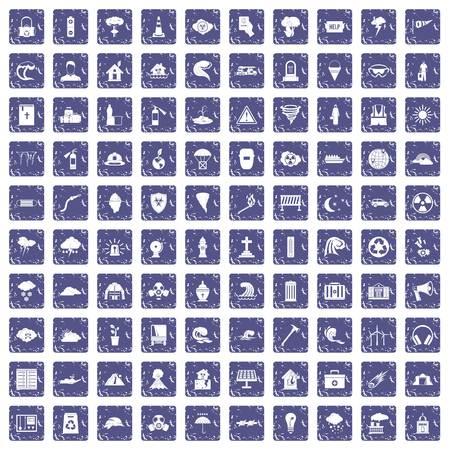 100 disaster icons set grunge sapphire Illustration