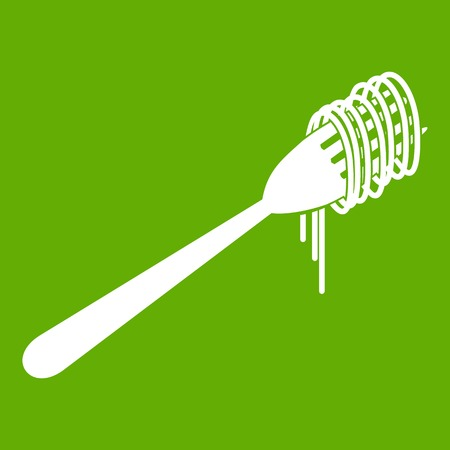 Spaghetti on a fork icon green