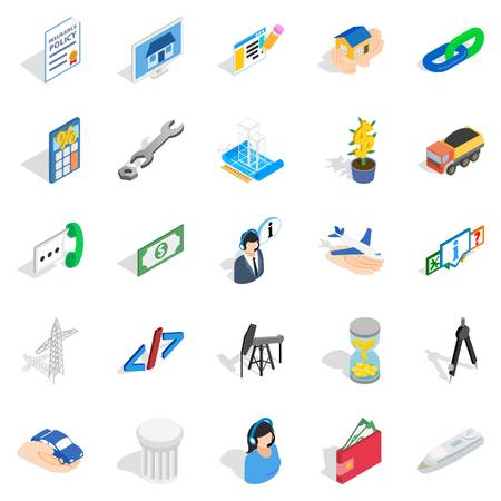 Profit icons set isometric style