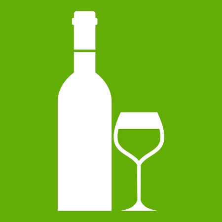 Glass and bottle of wine icon green Illustration