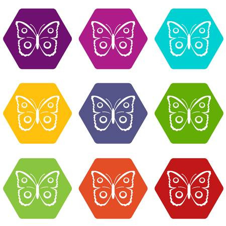 Butterfly peacock eye icon set color hexahedron Illustration