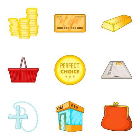 Coin icons set cartoon style Illustration