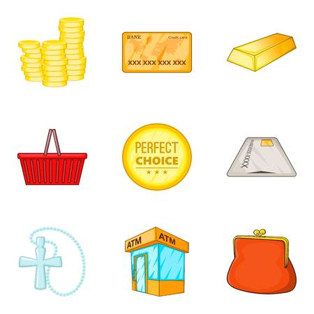 Coin icons set cartoon style Illustration