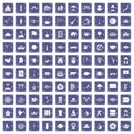100 dish icons set grunge sapphire 向量圖像