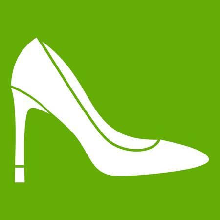 High heel shoe icon green Illustration
