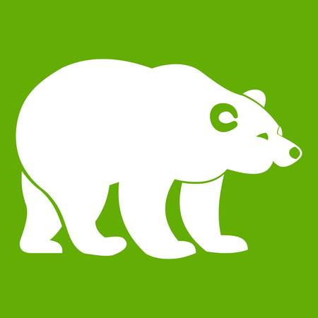 Bear icon white isolated on green background. Vector illustration Illustration