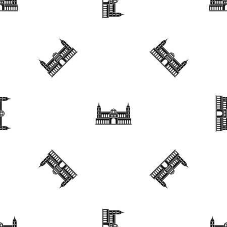 Castle pattern seamless black