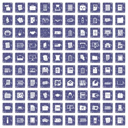 100 document icons set in grunge style sapphire color isolated on white background vector illustration