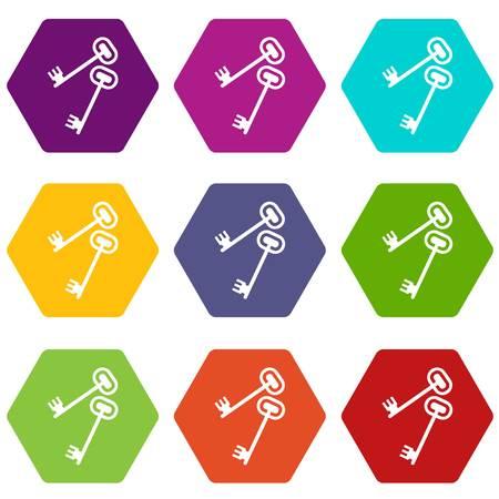 Keys icon set color hexahedron