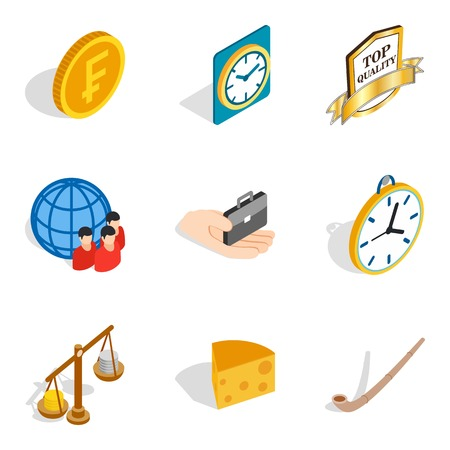 Compensation icons set. Isometric set of 9 compensation vector icons for web isolated on white background Illustration