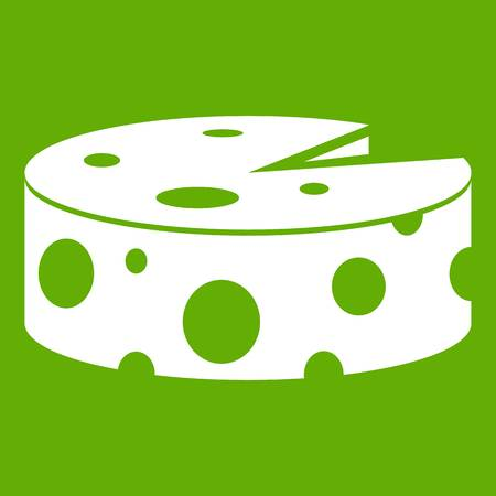 Cheese wheel icon white isolated on green background. Vector illustration