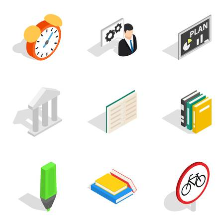 Business school icons set. Isometric set of 9 business school vector icons for web isolated on white background