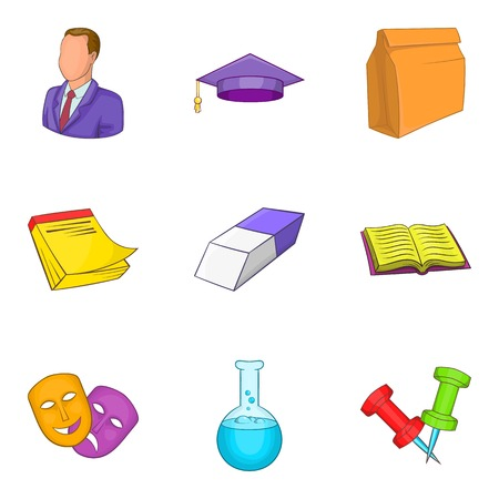 Educational institution icons set. Cartoon set of 9 educational institution vector icons for web isolated on white background