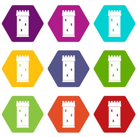 Fortress tower icon set color hexahedron