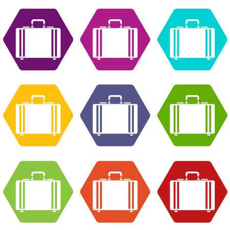 Diplomat icon set many color hexahedron isolated on white vector illustration Vectores