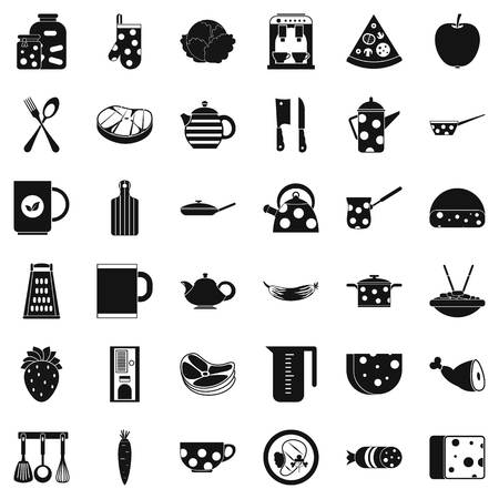 Cooking icons set. Simple style of 36 cooking vector icons for web isolated on white background Illustration