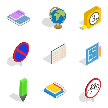 Building school icons set, isometric style Illustration