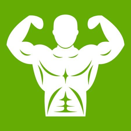 Athletic man torso icon green