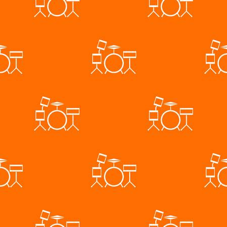 Drum kit pattern repeat seamless in orange color for any design. Vector geometric illustration