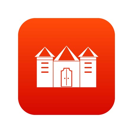Wall and gate of the old fortress icon digital red for any design isolated on white vector illustration Illustration