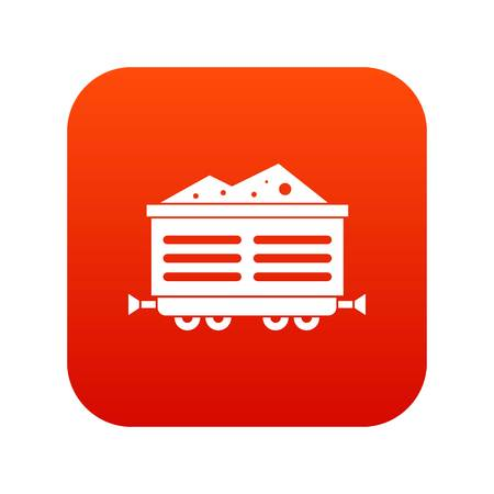 Train wagon with coal icon digital red