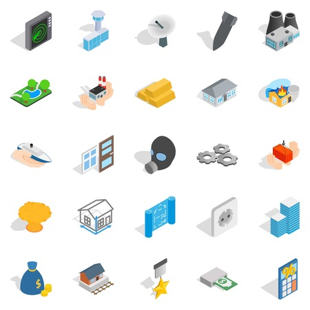 Projection icons set. Isometric set of 25 projection vector icons for web isolated on white background