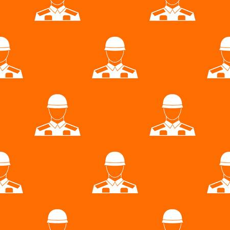 Soldier pattern repeat seamless in orange color for any design. Vector geometric illustration