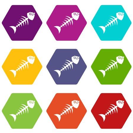 Fish bone icon set many color hexahedron isolated on white vector illustration Illustration