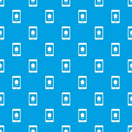 Working phone pattern repeat seamless in blue color for any design. Vector geometric illustration