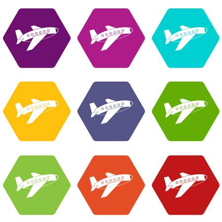 Airplane icon set many color hexahedron isolated on white vector illustration Illustration