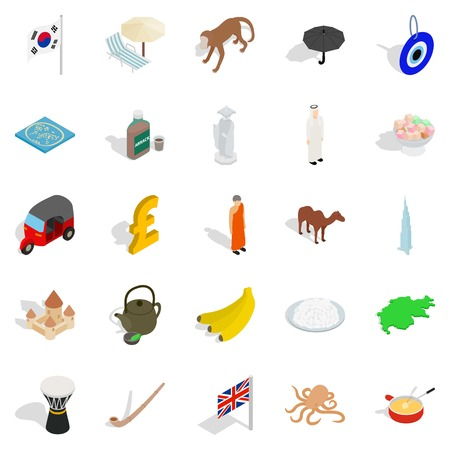 Country icons set, isometric style