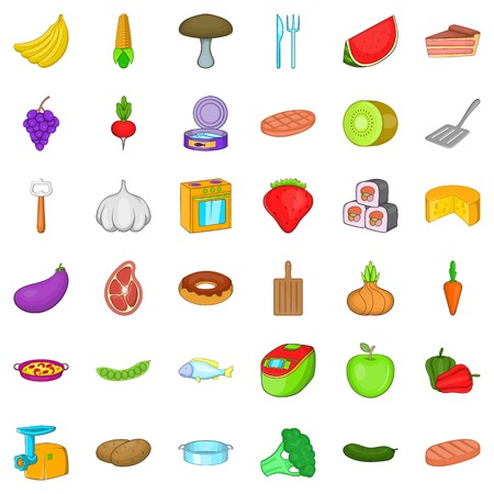 Menu icons set, cartoon style