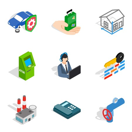 Concern icons set. Isometric set of 9 concern vector icons for web isolated on white background