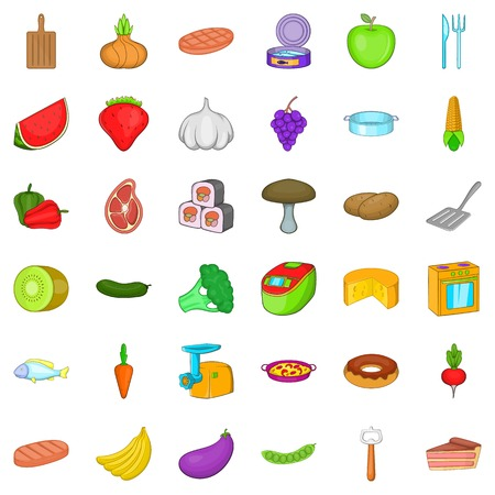 Restaurant icons set. Cartoon style of 36 restaurant vector icons for web isolated on white background