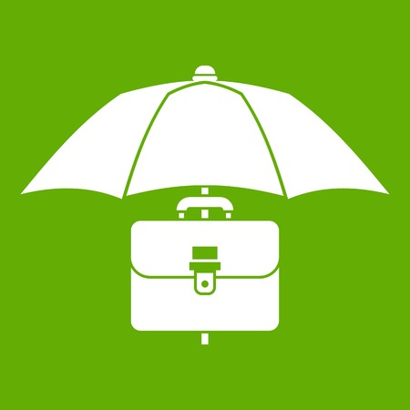 Umbrella and business case icon white isolated on green background. Vector illustration Illustration