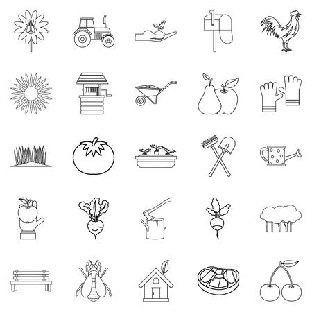 Hamlet icons set, outline style