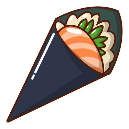 Sushi restaurant icon, cartoon style