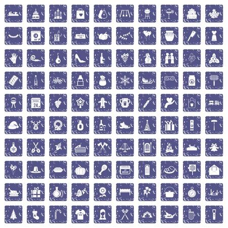 100 family tradition icons set grunge sapphire 일러스트