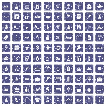 100 family tradition icons set grunge sapphire Stock Illustratie