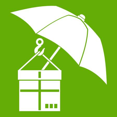 Umbrella and a cardboard box icon green Illustration
