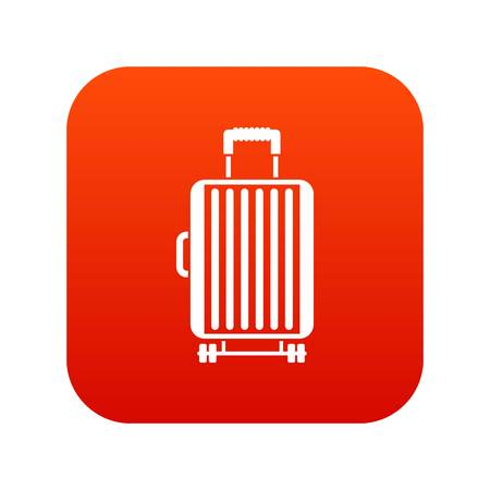 Suitcase on wheels icon digital red