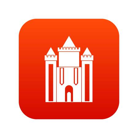 Ancient fort icon digital red for any design isolated on white vector illustration