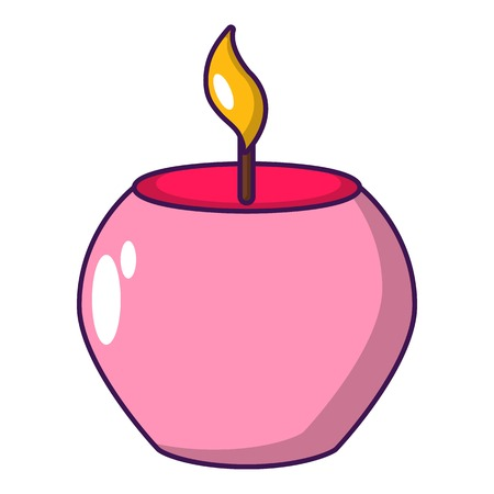 Candle spa icon, cartoon style