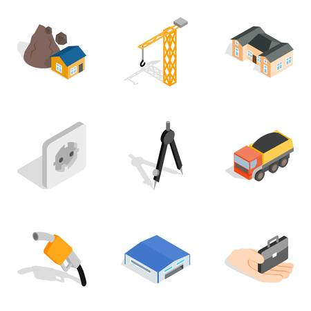 Construction site icons set, isometric style Stock Illustratie