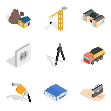 Construction site icons set, isometric style Illustration
