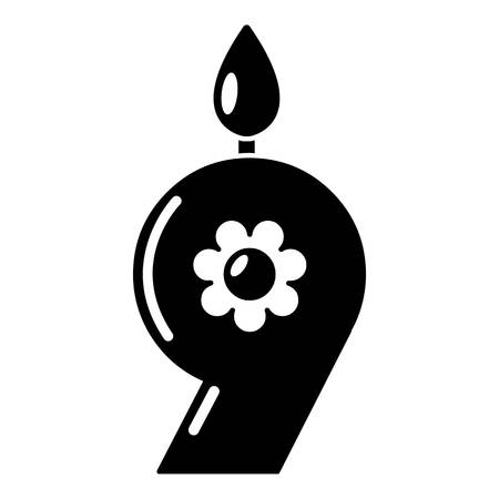 Candle numeral icon, simple black style
